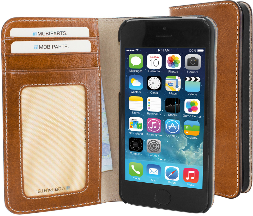 Mobiparts Excellent Wallet Oaked Cognac iPhone 5-5S
