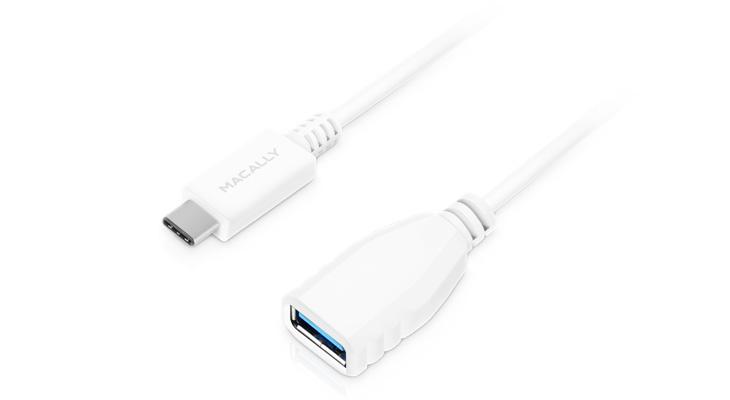 Macally USB-C 3.1 to USB A Fem 15cm Wht (UC3UAF-W)