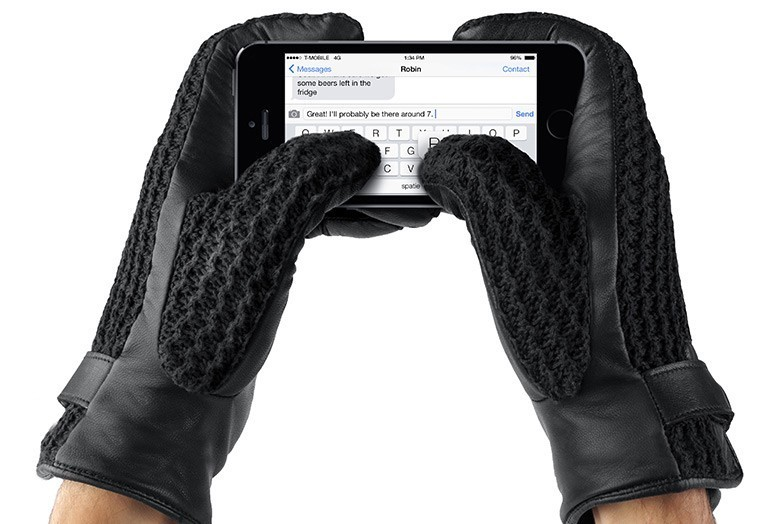Mujjo Leather Crochet Touchscreen Handschoenen L Zwart