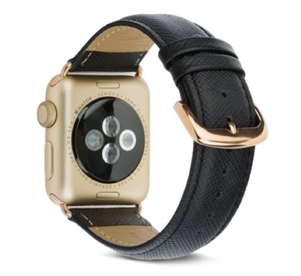 Madrid Apple Watch 38mm Leren Horlogeband Zwart