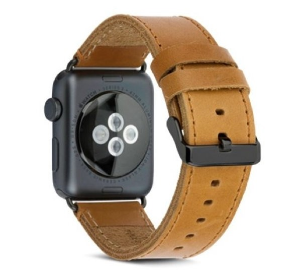 Copenhagen Apple Watch 42mm Leren Horlogeband Lichtbruin-Zwart
