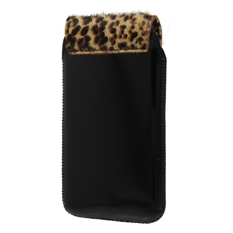 Leather Pocket Animal Black Leopard 20