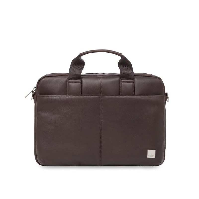 Knomo StanFord Leather slim laptop carrier 13 Inch bruin