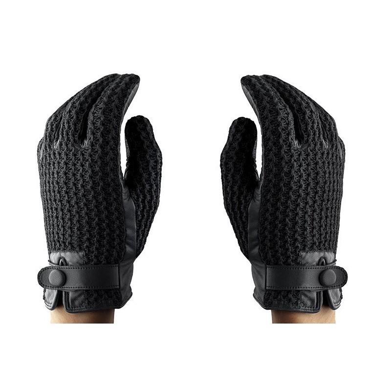 Mujjo Leather Crochet Touchscreen Gloves Size 8,5 (M/L)