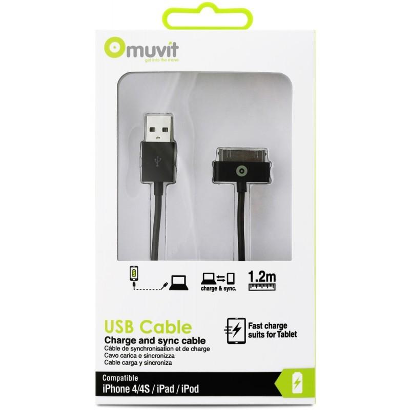 Muvit Dockconnector-naar-USB-kabel (3,00 m) zwart