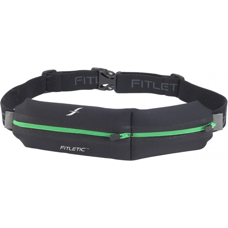 Fitletic Double Pouch Running Belt Black / Green