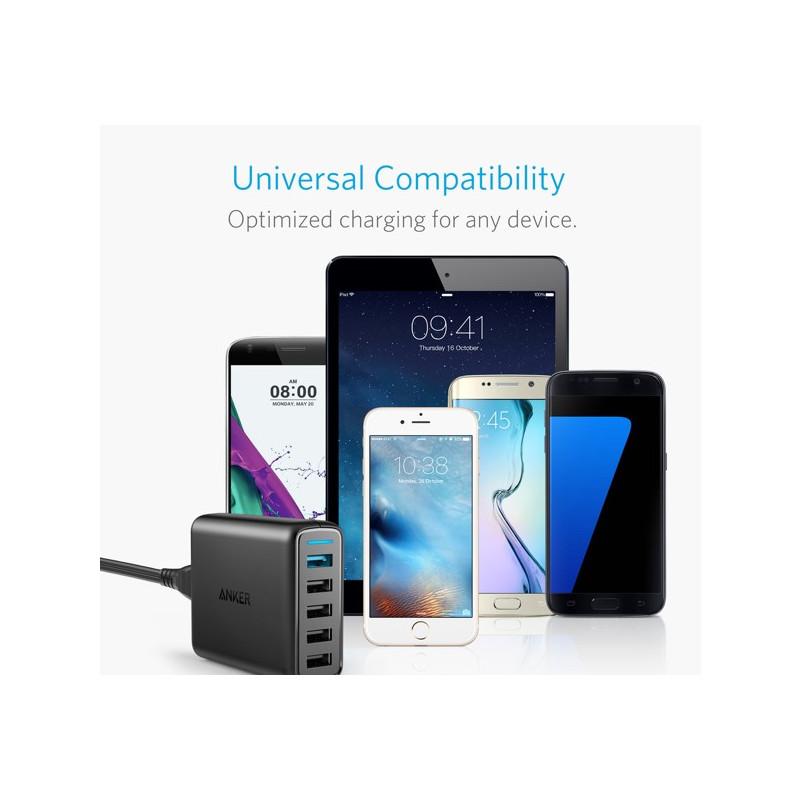 Anker PowerPort 5x USB Thuislader zwart