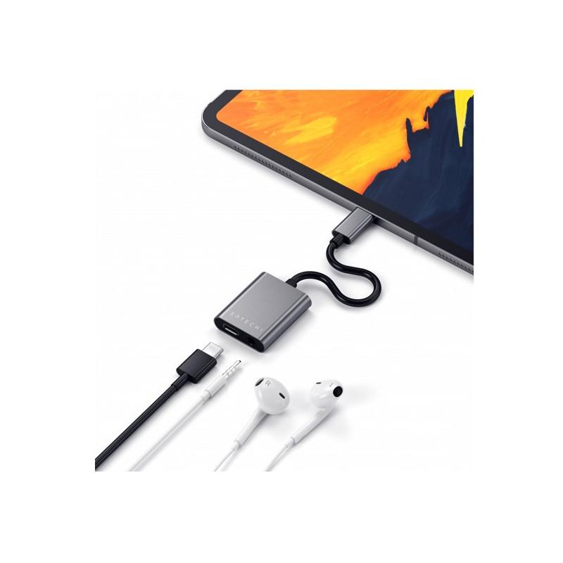Satechi Aluminium Type-C to 3,5mm Headphone USB-C PD grijs