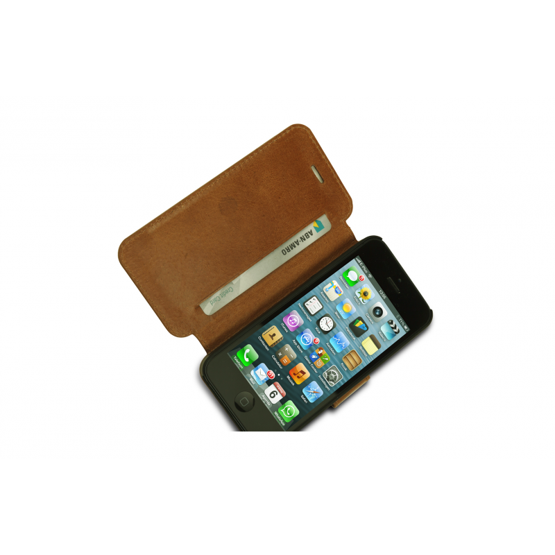 DBramante1928 leren wallet folio case iPhone 5(S) golden tan