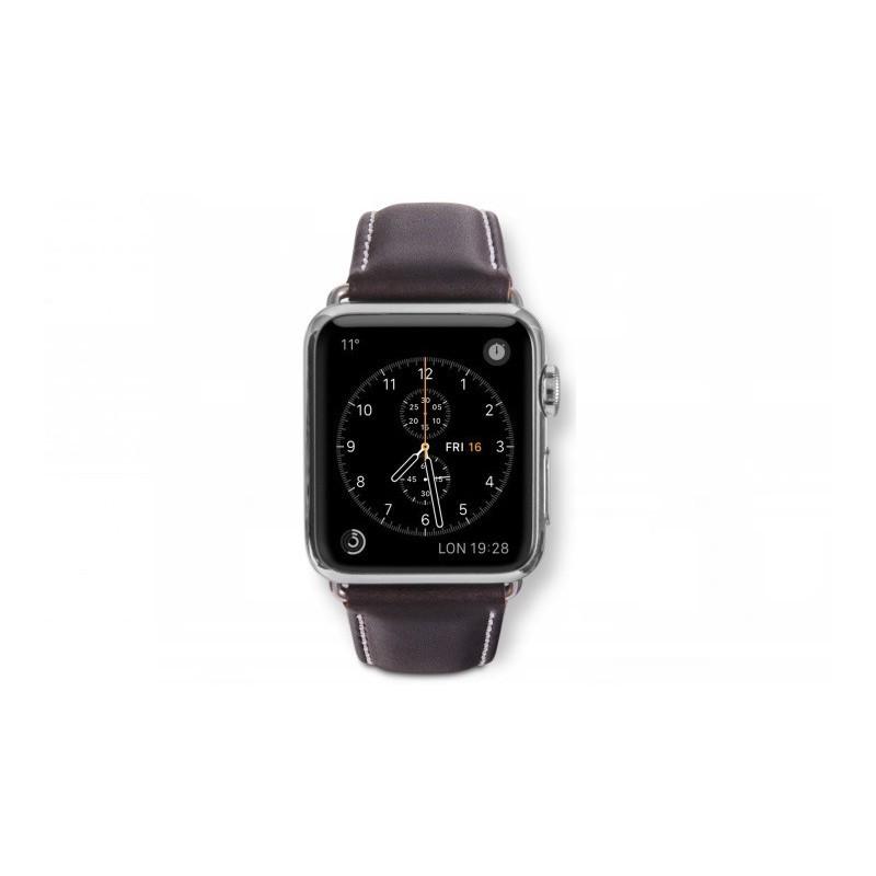 Dbramante1928 Kopenhagen Apple Watch bandje 42mm zilver/donkerbruin