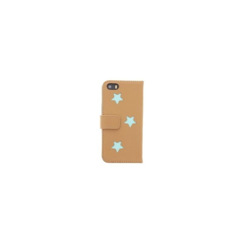 Fab Aqua Reversed star book case iPhone 5(S)/SE beige