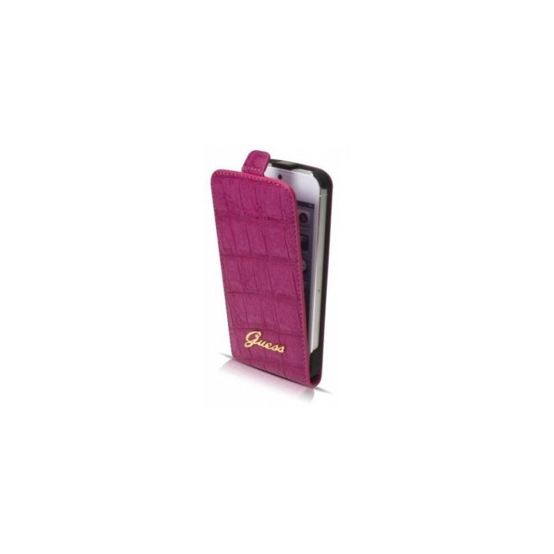 Guess Croco iPhone 5(S)/SE Flip Case roze