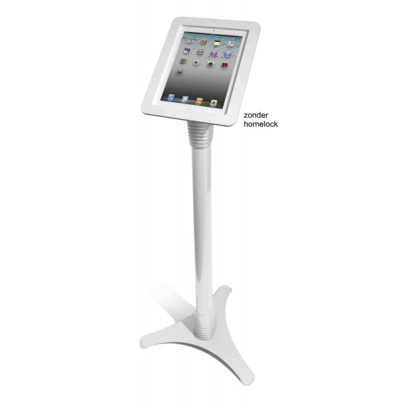 MacLocks verstelbare standaard aluminium wit iPad met open homebutton