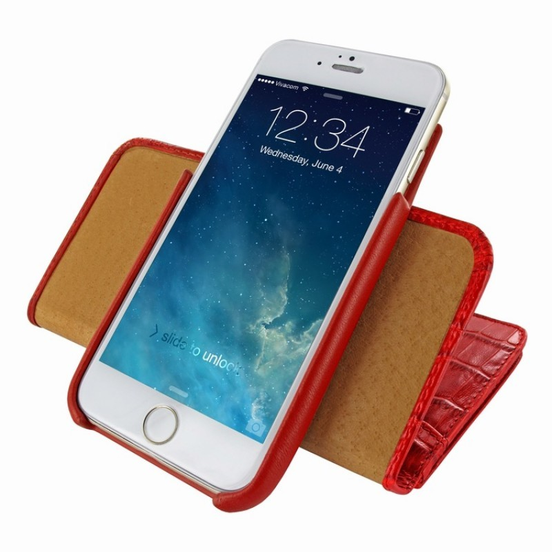 Piel Frama Wallet iPhone 6(S) Croco rood