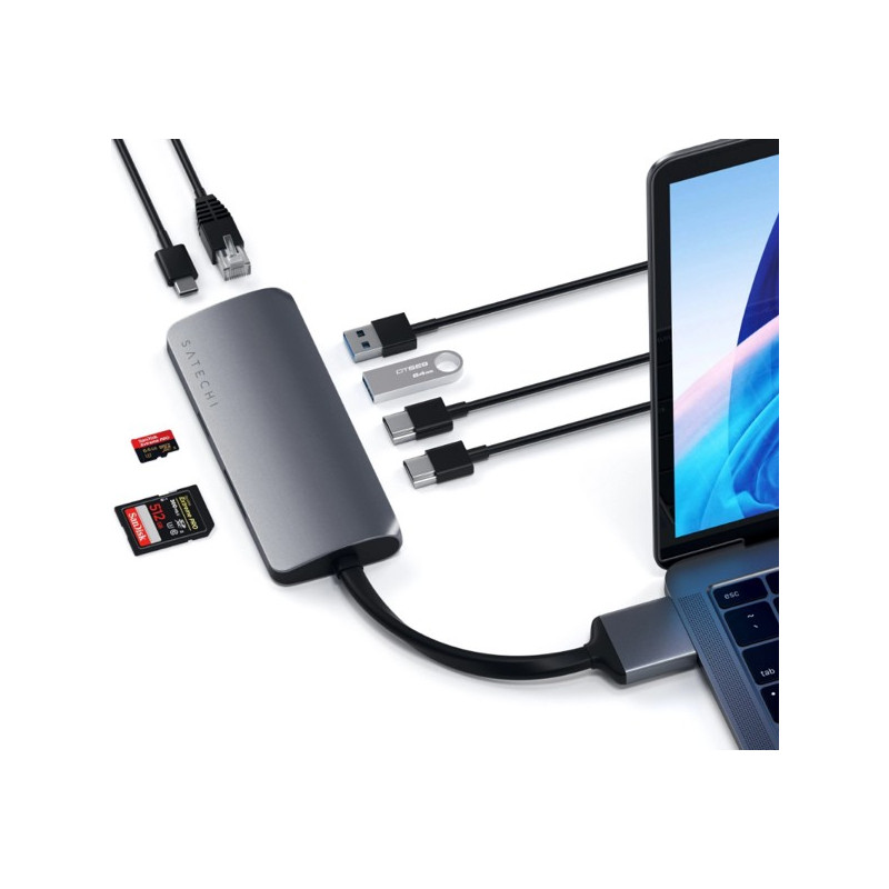 Satechi Type-C Dual HDMI Multimedia Adapter space gray