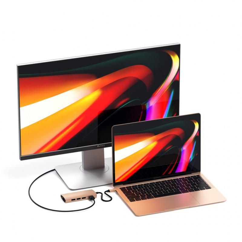 Satechi USB-C Multi-Port Adapter 4K Ethernet V2 goud