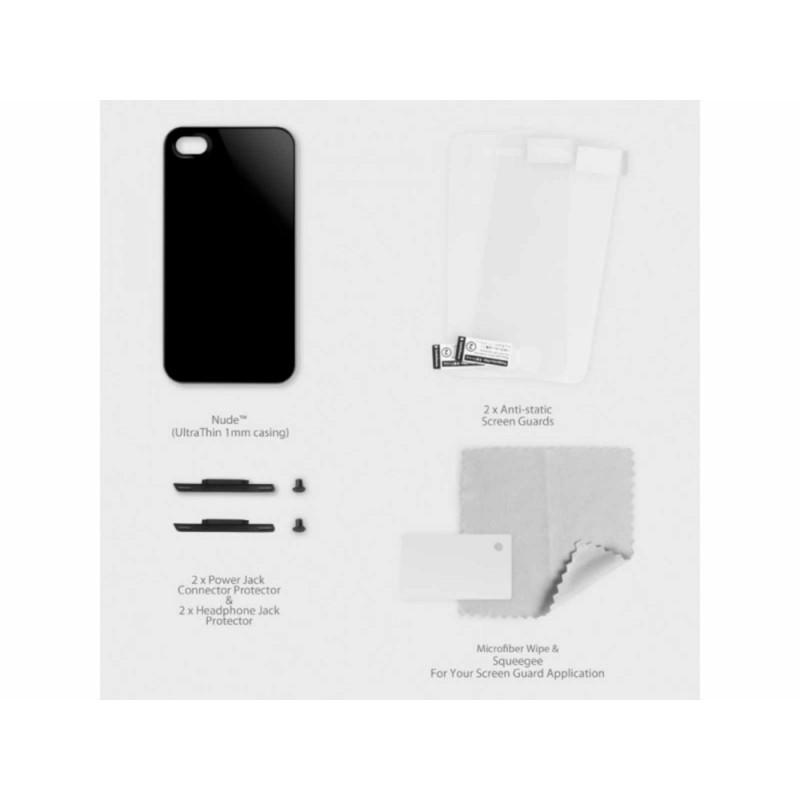 SwitchEasy Hard Case Nude + 2 screen protectors zwart iPhone 4(S)