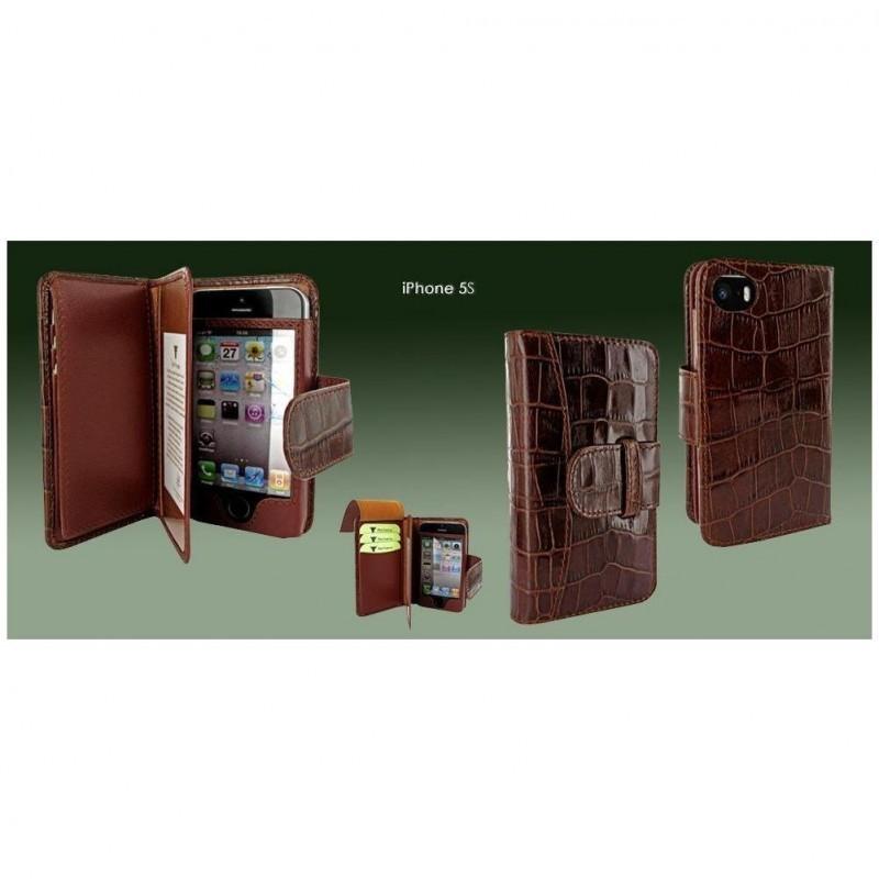 Piel Frama Wallet iPhone 5(S)/SE Crocodile bruin