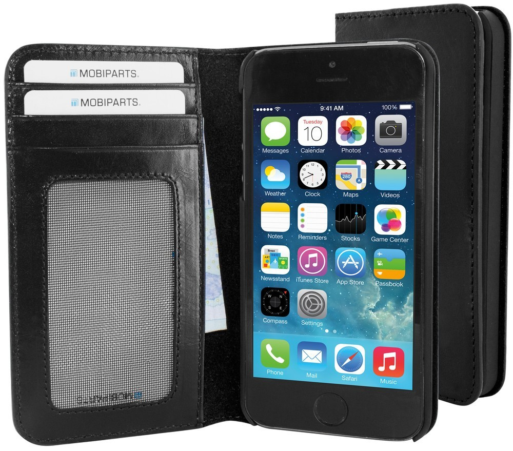 Mobiparts Excellent Wallet Case iPhone 5(S)/SE zwart
