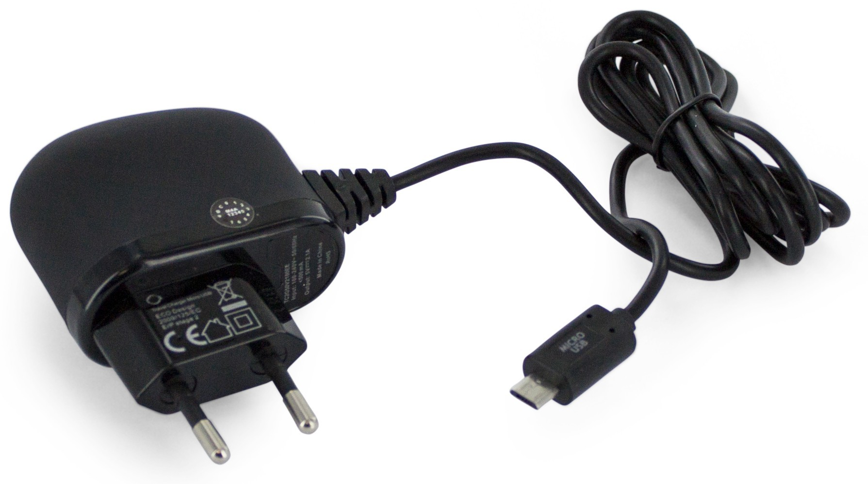 Travel Charger Micro USB 2.1A Black Straight
