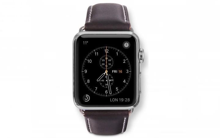 dbramante1928 Copenhagen Apple Watch bandje 38mm zilver/donkerbruin