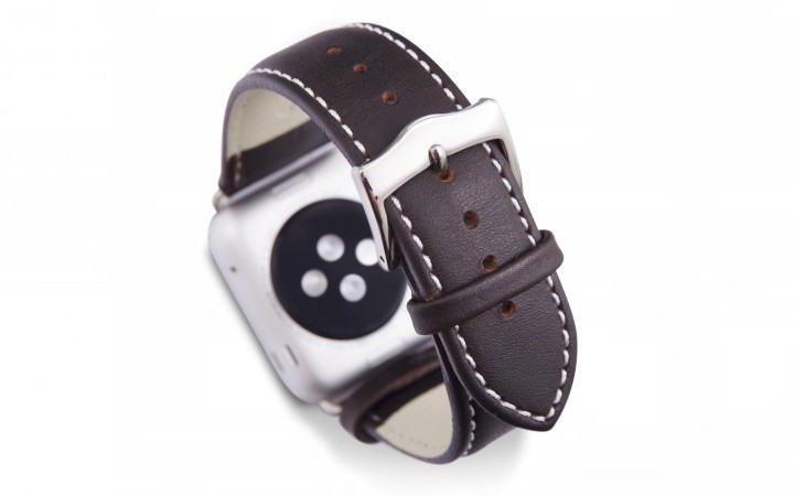 dbramante1928 Copenhagen Apple Watch bandje 42mm zilver/donkerbruin