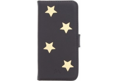 Fab Gold Reversed star book case iPhone 5(S)/SE zwart