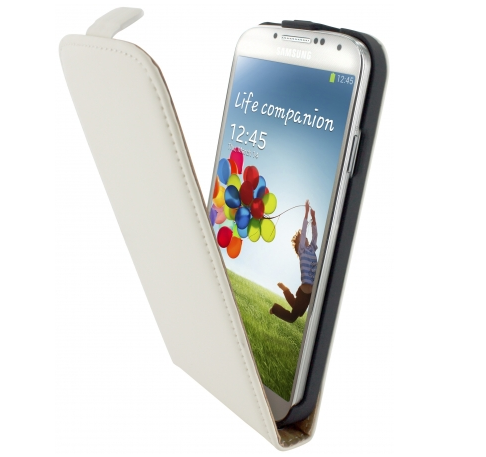 Mobiparts Flip Case leer Galaxy S4 wit