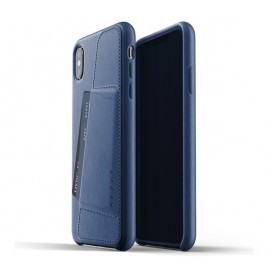 Mujjo Leather Wallet Case iPhone XS Max blauw