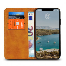Casecentive Leren Wallet case iPhone XS tan