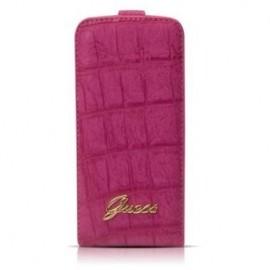 Guess Croco iPhone 5(S)/SE Flip Case roze