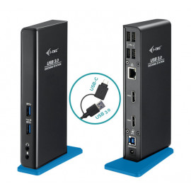 i-Tec USB-A 3.0 / USB-C Dual HDMI Docking Station zwart