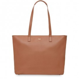 Knomo Maddox Leather Zip Tote 15 inch Caramel