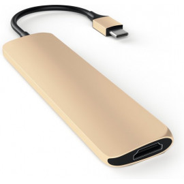 Satechi Type-C USB Passthrough HDMI Hub goud