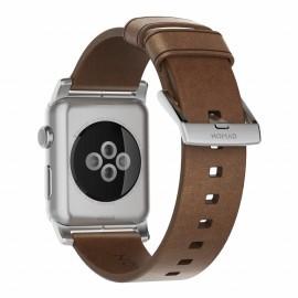 Nomad modern leren bandje Apple Watch 42 mm bruin / zilver