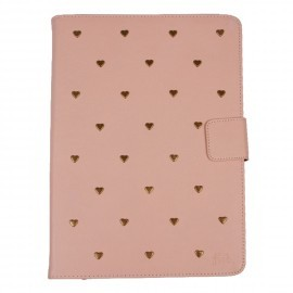 Heart Studs iPad 2 / 3 / 4 Folio Case Salmon