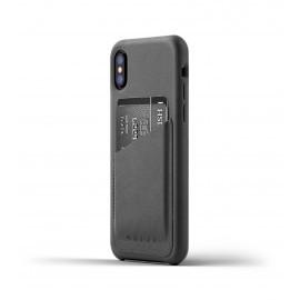 Mujjo Leren Wallet Case iPhone X grijs