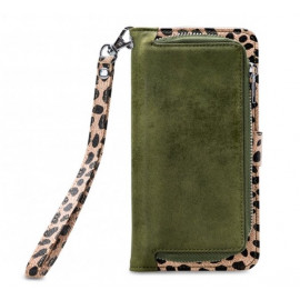 Mobilize 2in1 Gelly Wallet Zipper Case Galaxy S10 olijfgroen / leopard