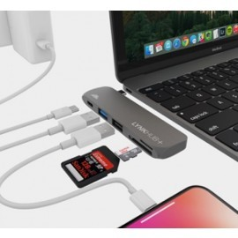 intelliARMOR USB-C 5 in 1 MacBook LynkHUB+ space gray