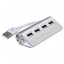 C&S Aluminium USB 2.0 hub 4 poorten zilver