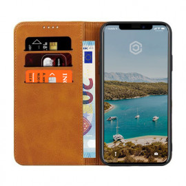 Casecentive Leren Wallet case iPhone 11 tan