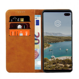Casecentive Leren Wallet case Samsung Galaxy S10 Plus tan