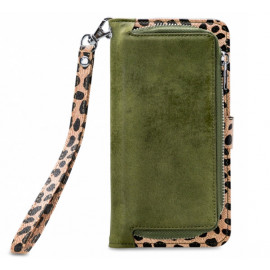 Mobilize 2in1 Gelly Wallet Zipper Case iPhone 12 / iPhone 12 Pro olijfgroen / leopard