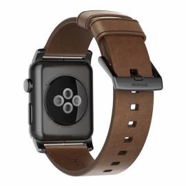 Nomad modern leren bandje Apple Watch 42 mm bruin / zwart