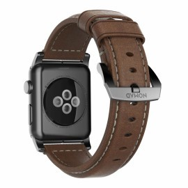 Nomad traditioneel leren bandje Apple Watch 42 mm bruin / zwart