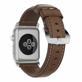 Nomad traditioneel leren bandje Apple Watch 42 mm bruin / zilver