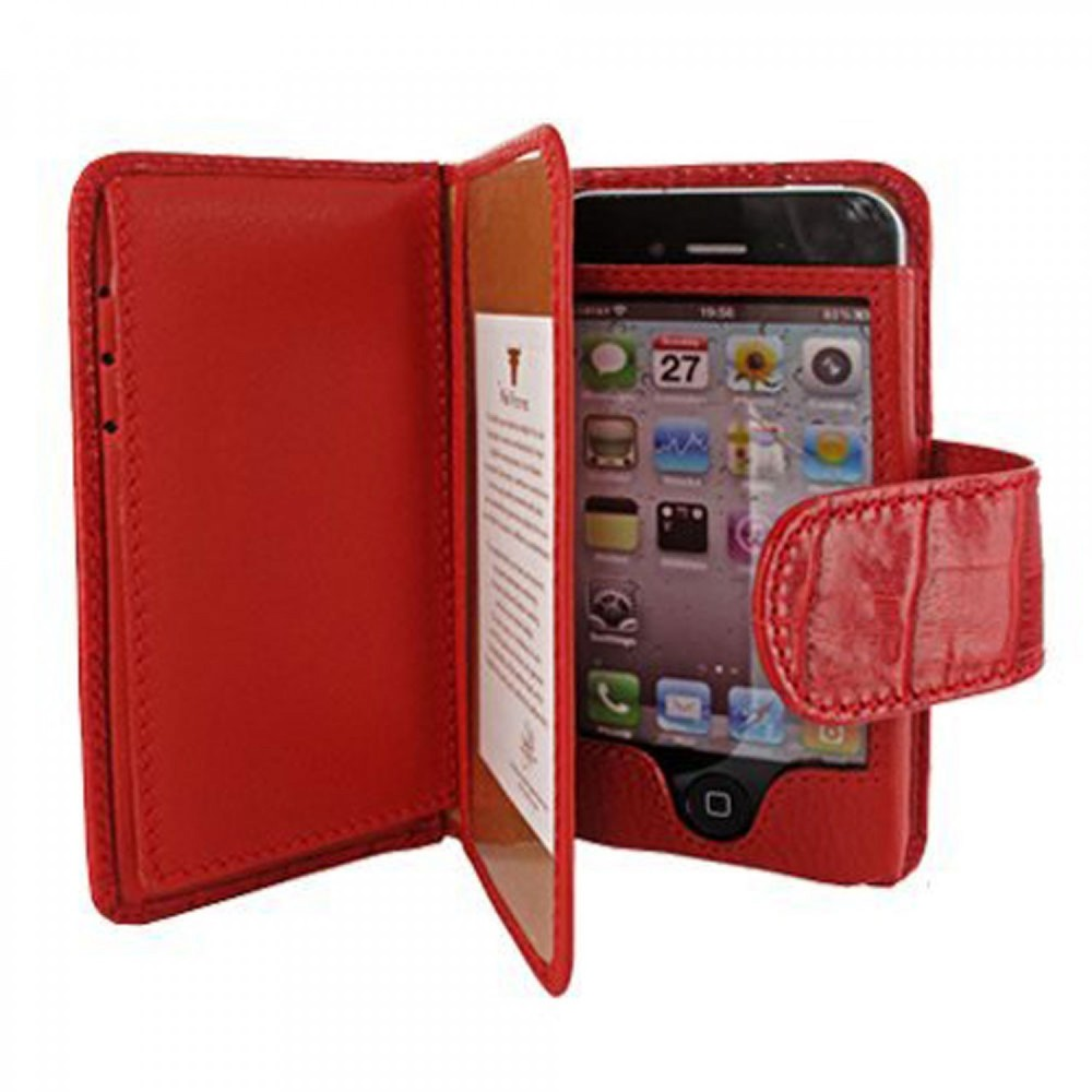 iPhone 5-5S-SE Piel Frama Portemonnee Leren Case Crocodile Rood