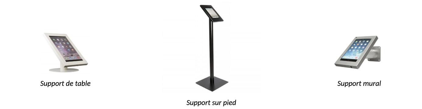 Supports de tablette pour salon, foires, conférences, etc.